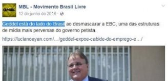 Foto de post em apoio a Geddel do MBL viraliza no facebook.