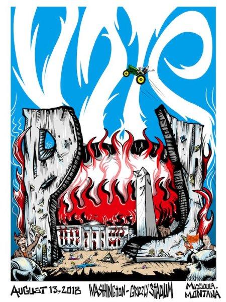 Cartaz da banda de rock Pearl Jam têm Casa Branca em chamas e presidente morto.