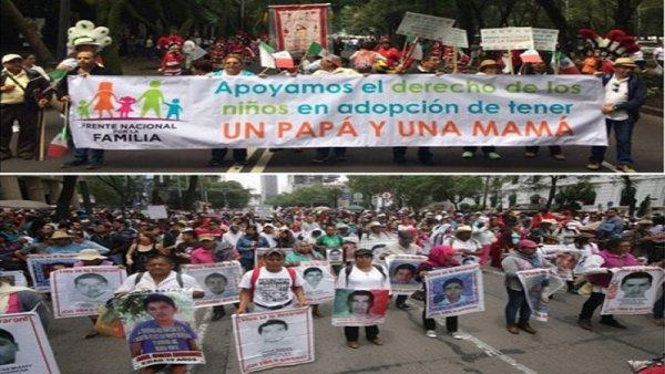 México polarizado: marcha da direita e mobilização pelos dois anos de Ayotznapa.