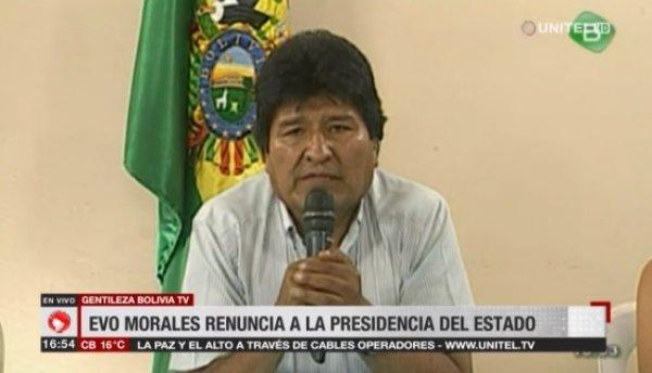 Após golpe de Estado, Evo Morales renuncia a presidência