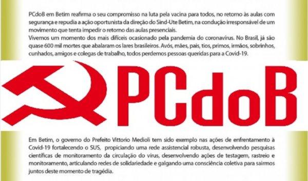 PCdoB ataca greve de trabalhadores da educação em Betim-MG e defende prefeitura do milionário Mediolli