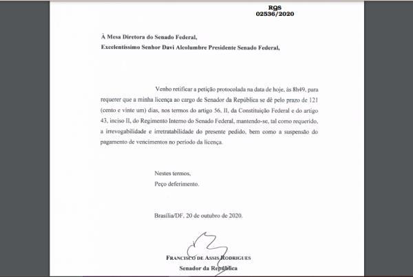Dinheiro na cueca: Chico Rodrigues amplia sua licença para filho assumir mandato no Senado