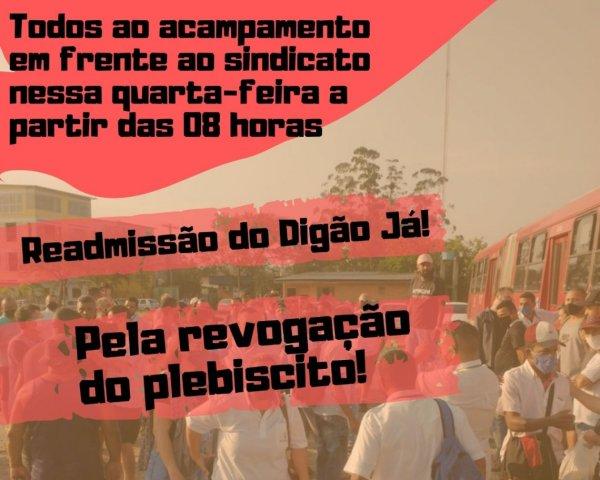 Rodoviários começam nesta quarta o acampamento em defesa do Digão e contra o plebiscito