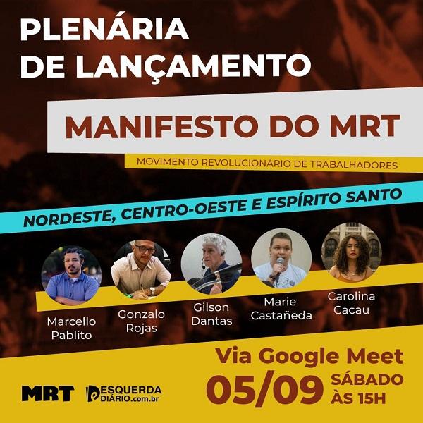 Lançamento virtual do Manifesto do MRT para as regiões Nordeste, Cerrado e Espírito Santo